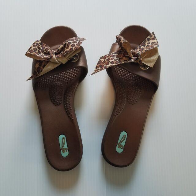 0d088493d441 Oka-B Okabashi Women s Size M L Leopard Bow Print Slides Sandals Mules  Casual