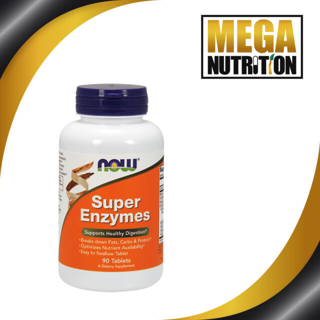 NOW Foods Super Enzymes 90 Tablets Supports Healthy Digestion Probiotics