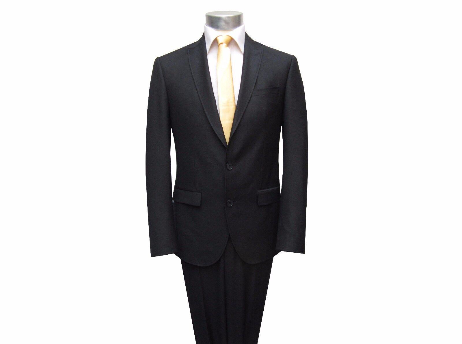 Taillierte Herren Anzug Anzug Anzug mit Weste Gr.58 Schwarz 0ee663