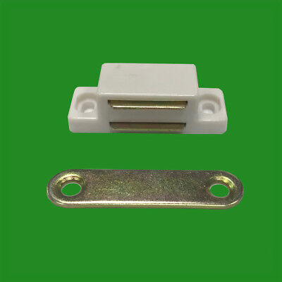 6x White Magnetic Heavy Duty Latches Cupboard Cabinet Door Wardrobe 6kg Pull