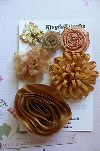 HANDMADE-5-Flowers-Butterfly-GOLD-MIX-Satin-amp-Organza-45-85mm-NjoyfullCrafts