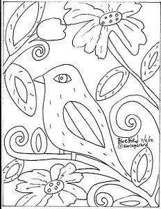 RUG HOOKING CRAFT PAPER PATTERN Blue Bird ABSTRACT Prim FOLK ART Karla Gerard