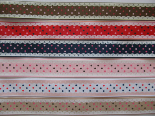 "1/"" 25mm Grosgrain Ribbon Polka Dot Printed Lace Edge Detailing DIFFERENT COLOURS"