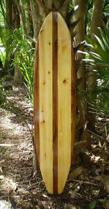 Details About Classic Stripe 6 Foot Longboard Natural Wooden Surfboard Wall Art Beach Decor Fl
