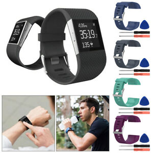 Silicone-Watch-Band-Bracelet-Bracelet-Bracelet-avec-outil-pour-Fitbit-Surge-L-S