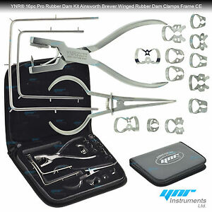 Dental-Rubber-Dam-Kit-Ainsworth-Brewer-Winged-Rubber-Dam-Clamps-Forceps-Frame-CE