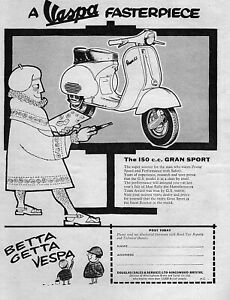 1960 Vespa Gran Sport GS-150 Scooter Moped Original Ad