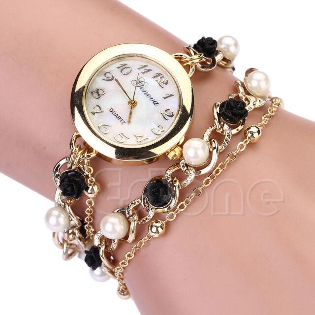 New Women Geneva Faux Pearl Flower Chain Bracelet Wrist Analog Quartz Dial Watch