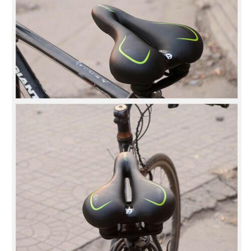 Suspension Silicone Gel Bike Seat PU Leather Cover Hollow Soft Bicycle Saddle