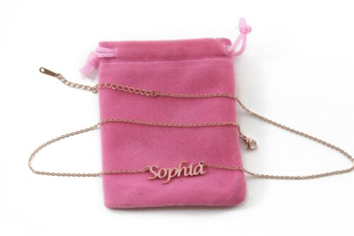 Valentines Birthday Sophia Personalized Jewellery Rose Gold Name Necklace