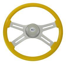 "18"" Yellow 4 Spoke Classic Steering Wheel 3-Hole for Freightliner, Peterbilt, KW"