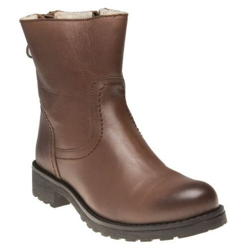 New Womens SOLE Brown Tan Verma Leather Boots Ankle Pull On Zip