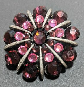 Purple Pink Rhinestones Brooch Pin Silver Tone Flower or Star  1.5'""