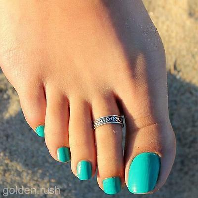 2 Pcs Women's Vintage Chic Toe Rings Simple Carving Patterns Silver Foot Rings