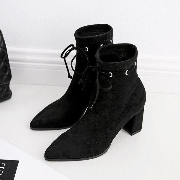 Stivaletti botas tacco quadrato negro eleganti 5 cm comodi pelle sintetica 1691