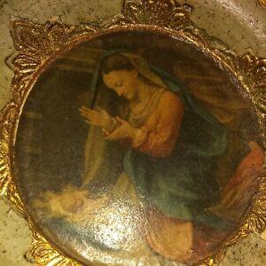 Vintage Italy Florentine Gilt Gold Wood Toleware Madonna Child Round Wall Plaque