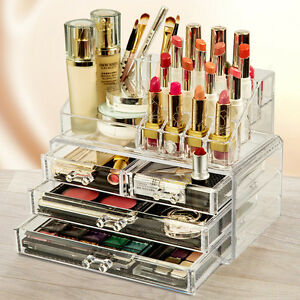 Clear cosmetic organizer acrylic makeup case jewelry - Rangement maquillage acrylique ...