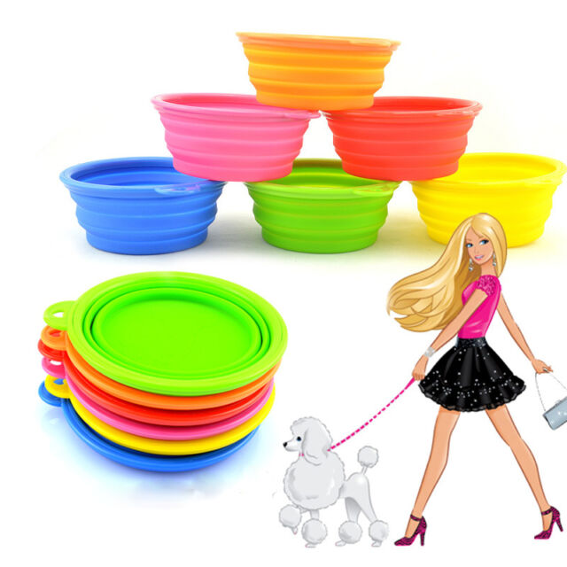 Collapsible Dog Cute Silicone Travel Feeding Bowl Pet Cat Dish Water Feeder