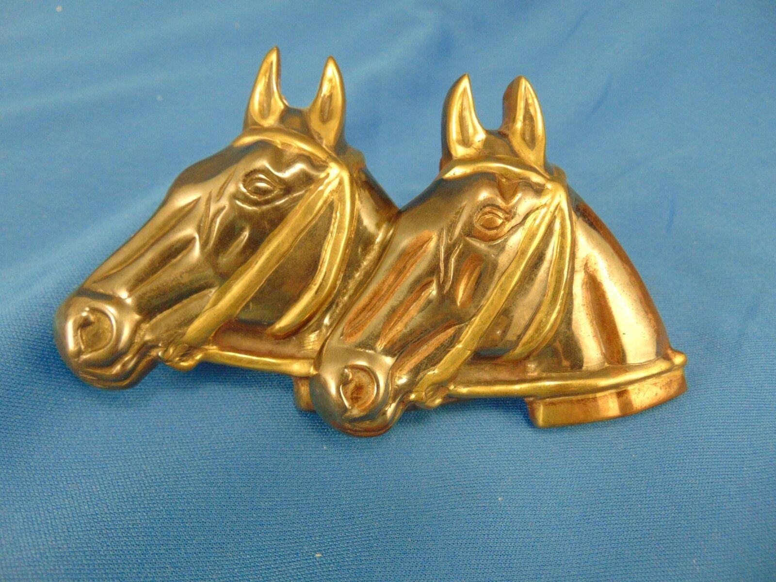 Belt buckle twin horse heads metal cowboy western rider farm ranch hand country