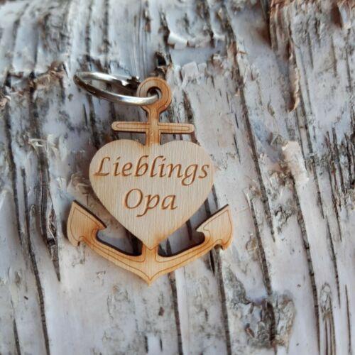 Lieblingsopa Anker Herz Schlüsselanhänger aus Holz Geschenk Schlüsselbund