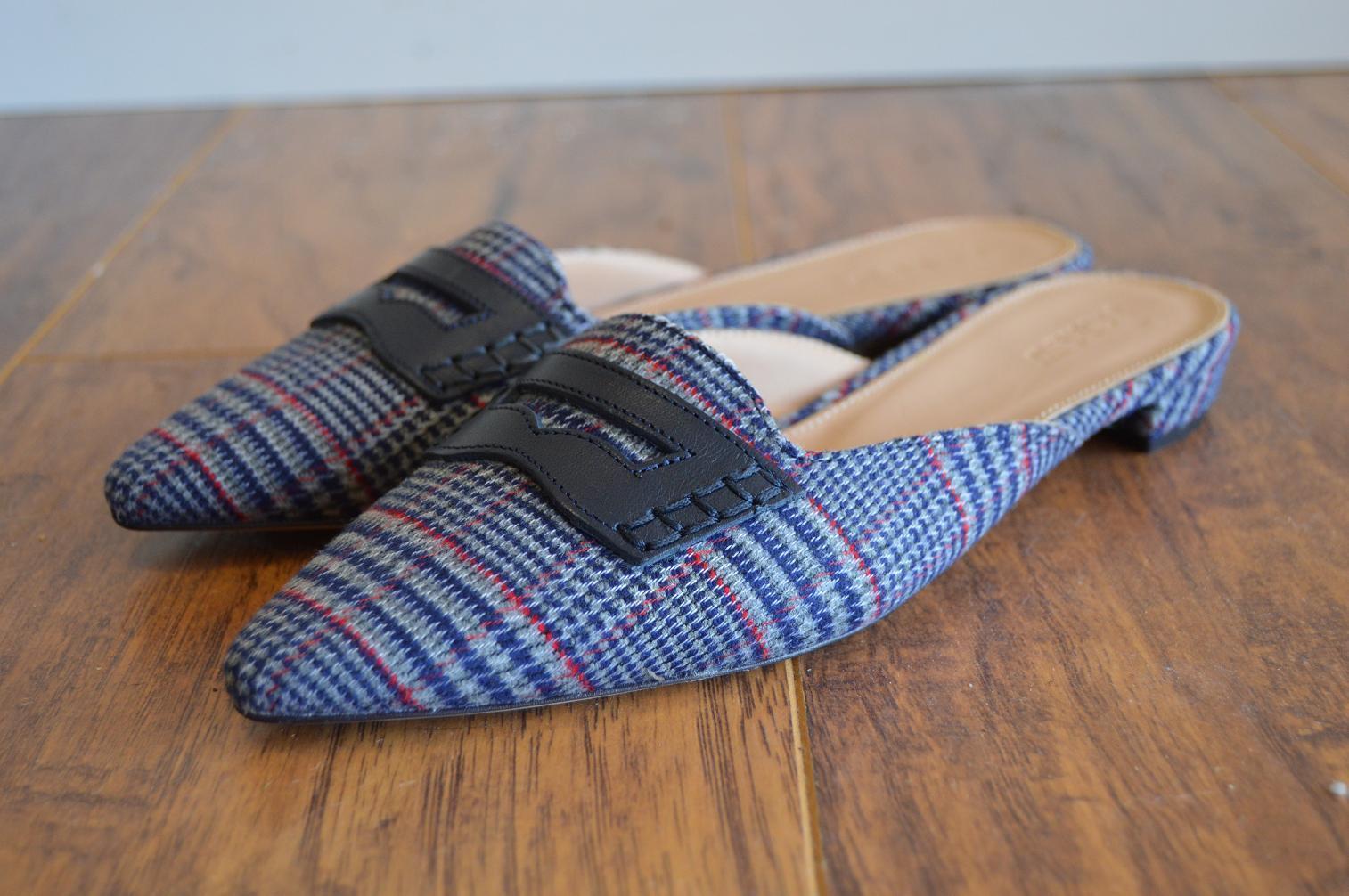 alta qualità generale JCrew  128 Tweed Tweed Tweed Loafer Mules Sz 7.5 Navy blu Plaid Slide scarpe G8230 AVL  in vendita online