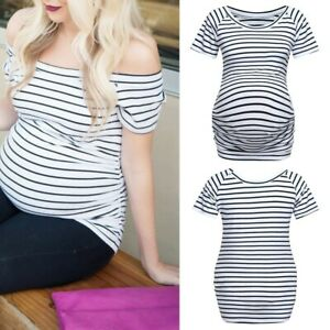 Women-Pregnancy-Summer-Casual-Short-Sleeve-Tee-Shirt-Stripe-Top-Maternity-Blouse