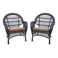 Jeco Wicker Chair In Espresso With Brown Cushion (set Of 4) on sale