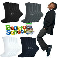 6 or 12 Pairs Boys Girls Cotton Rich School Socks Childrens Ankle Shoe Sizes 6-5