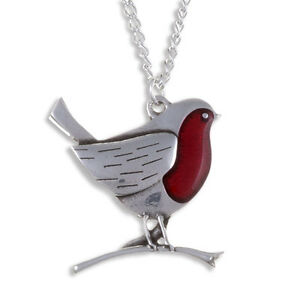 St Justin Made in UK Robin Pendant /& Chain Christmas  Pewter Red Enamel