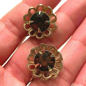 Vintage-Gold-Tone-Sarah-Coventry-Amber-Rhinestone-Flower-Clip-on-Earrings