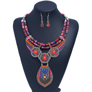Women-Boho-Choker-Statement-Pendant-Necklace-Earring-Set-Tribal-Ethnic-Jewelry
