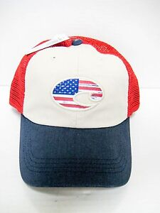 9e843b8d5c9 Brand New Costa Del Mar USA Flag UNITED TRUCKER Adjustable Mesh Hats ...