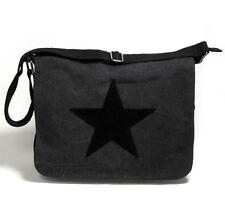 XXL Canvas STERNE TASCHE STAR STERN Messenger Cross Bag Freizeit Schwarz 7129