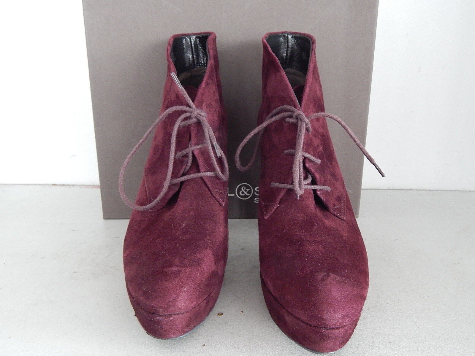Kennel & Schmenger Bordeaux Stiefeletten Ankle Stiefel Plateau Wildleder Bordeaux Schmenger Gr. 40 86e8a8