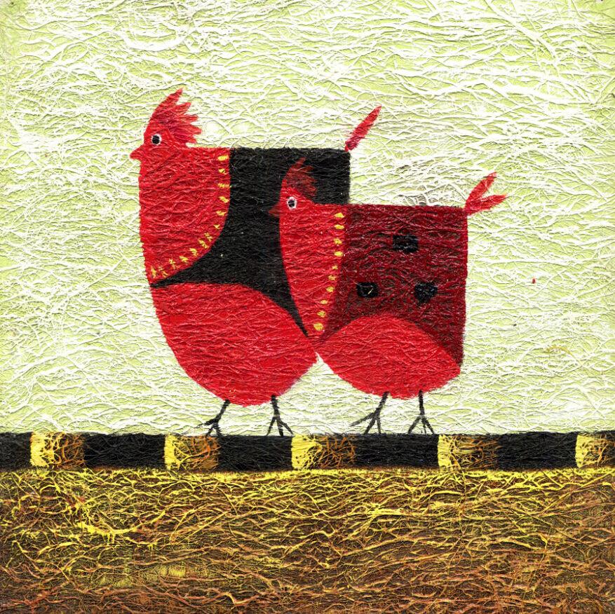 3D Beautiful rot Hens Painting 40 Wall Paper Wall Print Decal Wall AJ Wall Paper