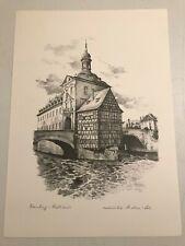 SIGNED MONIKA HELLER COLE ART PRINT UNFRAMED GERMANY MUNCHEN MARIENPLATZ BLK//WHT