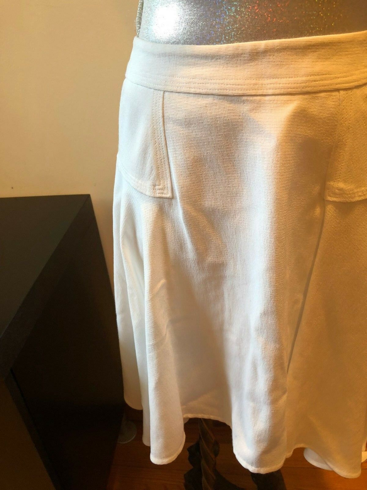 NEW A.L.C. White Viscose Flared Skirt Size 6
