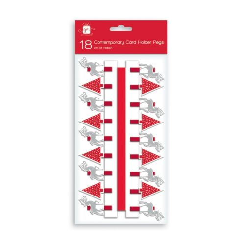 36 Arbre De Noël /& Renne contemporain Porte-carte Chevilles /& 2 m ruban GA501 x2