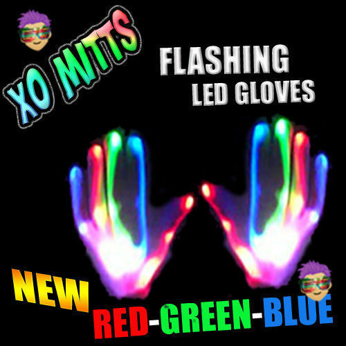 XBone RED-GREEN-BLUE LED Gloves Rave Phat Pants Cyber Punk Clothing Wear WOW