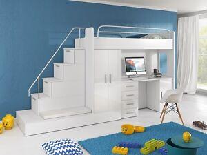 Etagenbett Mit Schrank Und Schreibtisch : Tomi hochbett mit schrank schreibtisch treppe und gästebett