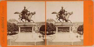 Italia-Torino-Monumento-Duca-Da-Genoa-Foto-Brogi-Stereo-Vintage-Albumina