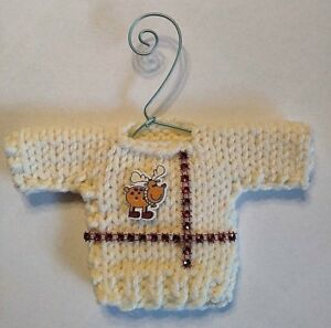 Cream White Ugly Sweater mini Christmas Tree Ornament ...