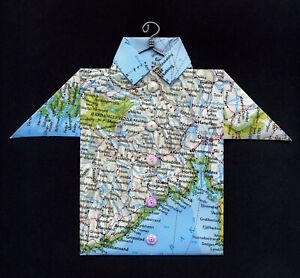 Origami-Map-Shirt-Drammen-Oslo-Ski-Kongsberg-H-nefoss-Norway-Europe