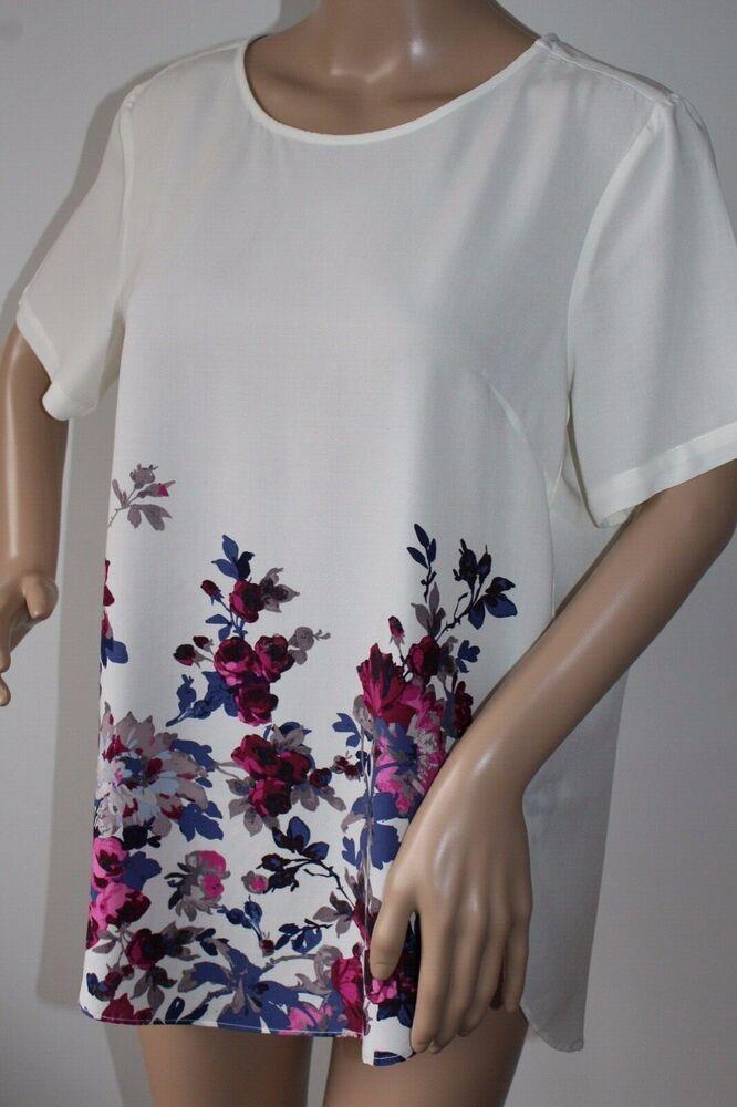 Joules Femmes Joli Haut Décontracté En Crème Avec Violet Imprimé Floral Taille 12 Neuf!
