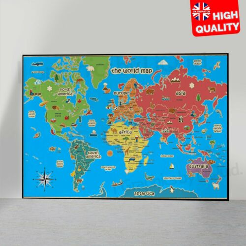 Kids Educational Prints Map Of World Wall Chart Activity Countries Art Poster