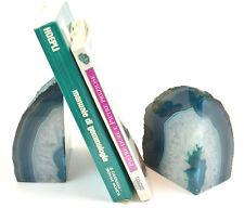 Fermalibro reggilibri agata blu per libreria mensola idea regalo in Pietra Geode