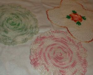 HAND CROCHETED DOILIES LOT OF 3 GREEN/WHITE, PINK/WHITE & WHITE WITH FLOWERS