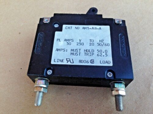 5 pcs Heinemann Re-Cirk-It 50A Circuit Breaker AM1-A8-A 250 volts AC 50 amps