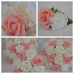 Pinky-Coral-Salmon-wedding-bouquet-posy-flowers-bridesmaid-bride-buttonholes
