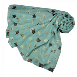 CAT FACES PRINT SCARF IN BLUE /& ORANGE GREAT GIFT FOR CAT LOVERS  FAST DESPATCH